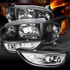 01-02 Toyota Corolla Black Headlights+Corner Signal Lamps+Clear Fog Lights