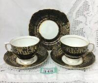 Vintage Colclough Gold Chintz On Black Porcelain 2 Cups & Saucers, 1 Side Plate