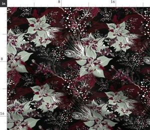 Floral Winter Holiday Christmas Plum Poinsettia Spoonflower Fabric by the Yard