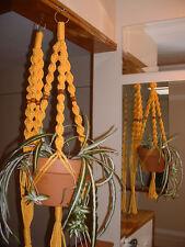 LOT 2 Macrame Plant Hangers SUNSHINE YELLOW  WALNUT BEADS Made in USA