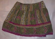 Pink and Green Short Casual Skirt. Size Small