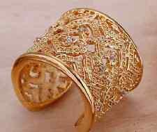 sehr großer Ring goldfarben mit Zirkon gold Ring mit Zirkon großer Goldring