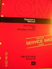 VINTAGE  JOHN DEERE  OPERATORS  MANUAL - #  230  SHREDDER-FEEDER