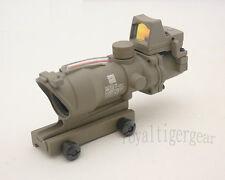 ACOG 4x32 Rifle Scope Red Illuminated Optic Fibre w Red Dot Sight - Dark Earth