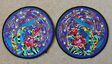A Pair of Chinese Coasters with Thread Weaving Peacocks + Flora on Cloth