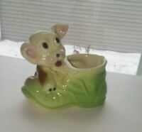 Vintage LOOK Puppy Dog Figurine Red Shoe Boot Pottery Hand Painted Planter Vase