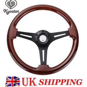 """350mm Wood Grain Black Trim Classic Matte Spoke Steering Wheel Wooden 14"""" inch"""