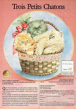 Publicité Advertising 078  1992  Porcelaine Franklin trois petIts chatons Dunkan