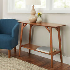 Mid Century Modern Console Table Sofa Shelf Pecan Brown Wood Side Accent Home