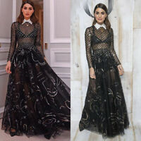 Women's Ladies Maxi Dress Mesh Lace Long Sleeve Cocktail Prom Gown Weeding Dress