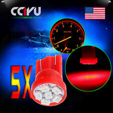 5Pcs Red 6SMD LED T10 Side Wedge Dash Cluster Panel Light Replace Bulbs 194 168