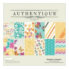 Bloc AUTHENTIQUE RADIANT lot 20 papiers épais scrapbooking 30x30 cm recto-verso