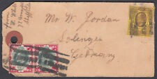 KEVII 1s Pair + 3d on Parcel Tag; Sheffield Parcel Roller to Solingen, Germany