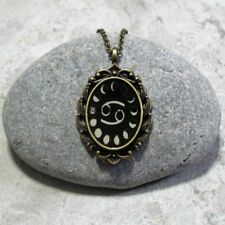 Moon Phase Cancer Pendant Necklace Jewelry Antique Bronze