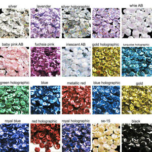 30+Colors - 1000pcs Loose Sequins 6-7mm Cup Round Cupped Sewing Crafts ART DIY