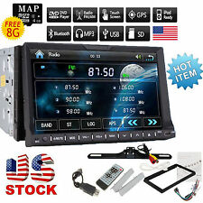 "Camera+7"" Double 2Din Car Stereo CD DVD Player GPS Navigation Bluetooth USB iPOD"