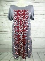White Stuff Floral Linen Top Grey Burgundy Tunic Shift Top Dress Size 10