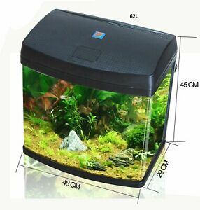62L Aquarium Fish Glass Tank Fresh Water LED Light Filter Black BXA48