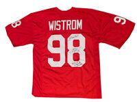 Grant Wistrom Nebraska Autographed Football Jersey 94 95 97 NATL CHAMPS JSA COA