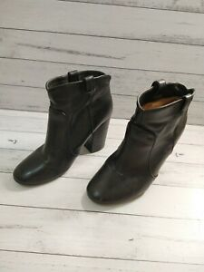 Witchery Black All Leather Tammy Ankle Boots - Size - 40 - Block Heel