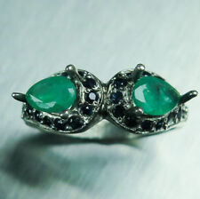 Emerald Engagement Not Enhanced Sterling Silver Fine Rings