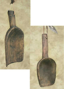 2pc Primitive Style Sm Lg Treenware Scoops Spoons Leather Hanger Kitchen Decor
