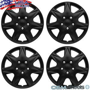 "4 NEW OEM MATTE BLACK 16"" HUBCAPS FITS PONTIAC MONTANA CENTER WHEEL COVERS SET"