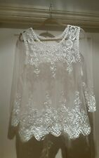 WHITE VINTAGE LACE SHEER BOHO HIPPY  TOP VICTORIAN WITH RIBBON SMALL - MEDIUM