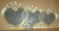 """MIKASA CRYSTAL ROSES TRIPLE HEART 14"""" PICTURE FRAME THREE TIMES THE LOVE"""