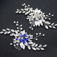 Leaf Hair Combs Crystal Wedding Hair Accessories Pearl Women Bridal Jewelry PTWG