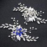 Leaf Hair Combs Crystal Wedding Hair Accessories Pearl Women Bridal Jewelry PTJC