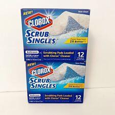 2 Clorox Scrub Singles Bathroom Rain Clean 12 Pads NEW Discontinued HTF