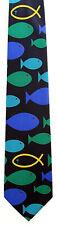 Swim Against The Current Men's Neck Religious Christian Fish Blue Neck Tie