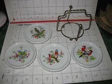 Vintage Set of 4 Interpur Porcelain Bird Coasters with Metal Holder