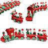 4 Piece Wood Christmas Xmas Santa Claus Train Ornament Decoration Decor Gift Toy