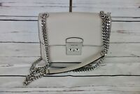 NEW Michael Kors Sloan Editor Medium Chain Shoulder Bag Leather Cement MSRP $358
