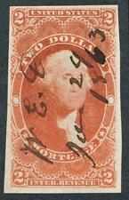 U.S. R82a USED RED $2 MORTGAGE, IMPERF VF