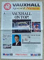 VAUXHALL SPORT NEWS Sept 1992 Publicity Brochure Motor Sport Newspaper Format
