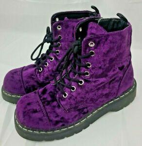 RARE T.U.K. Anarchic Vegan Purple Velvet Combat Boots Side Zipper sz 9