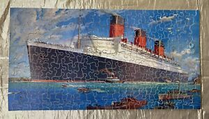 Circa 1934 200 Piece Wooden Jig-Saw Puzzle & Box Cunard White Star Queen Mary