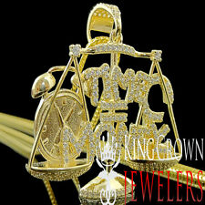 Real Yellow Gold On Silver Time Is Money Scale Pendant Charm Simu Diamond +Chain