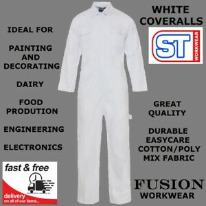 WHITE COVERALLS / OVERALLS,PAINTING,DECORATOR,FOOD,BAKERS,DAIRY COTTON POLY,DIY