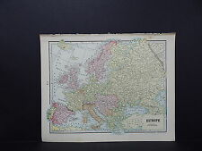 Map of Europe England George F. Cram 1899 Double-Sided W18#52