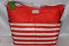 NWT! Kate Spade Collins Avenue SERENA Soph Red Cream Stripe Baby Diaper Bag $298