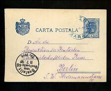 Postal History Romania H&G #31 Card 1897 Banesti / Bucuresli to Berlin Germany