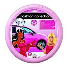 Sumex Branded Girls Classy Pink Leather Car Steering Wheel Cover With Silver -