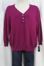 Karen Scott Sweater Woman Sz 2X Passion Flower Pink Cotton Henley Casual