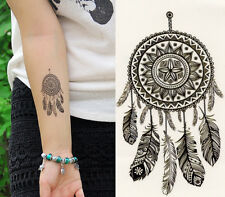 Temporary Tattoo Black Dreamcatcher Feathers Fake Waterproof Sheet
