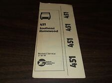 MARCH 1981 CHICAGO RTA ROUTE 451 SOUTHEAST HOMEWOOD BUS SCHEDULE