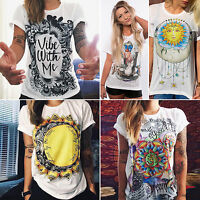 Hot Women BOHO Graphic Tee Summer Casual Short Sleeve Tops Grunge T-shirt Blouse